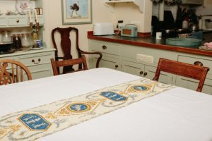 Table Runner - Blue/gold scroll (2.8m x 30cm - £25)