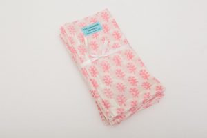 "Napkins - 100% cotton - Pink/white sprig (43cm/17"" square) - £22 for 4"