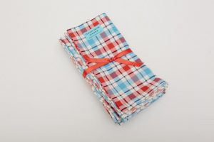 "Napkins - 100% cotton - Blue/red seersucker check (43cm/17"" square) - £20 for 4"