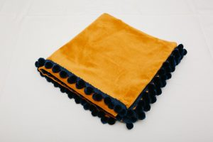 "Out of Stock - Bridge Cloth - Gold velvet with navy pom poms (1.07m/42"" square - £65)"