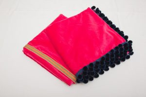 "Bridge Cloths - Fuchsia pink velvet with braid/navy pom poms (1.07m/42"" square - £70)"