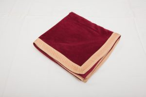 "Bridge Cloth - Burgundy velvet with pink/cream braid (1.07m/42"" square - £65)"