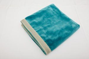 "Out of Stock - Bridge Cloth - Turquoise velvet with blue/cream braid (1.07m/42"" square - £75)"