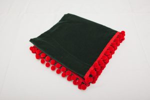 "Bridge Cloth - Bottle green velvet with red pom poms (1.07m/42"" square - £65)"