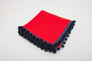 "Bridge Cloth - Red velvet with navy blue pom poms (1.07m/42"" square - £65)"