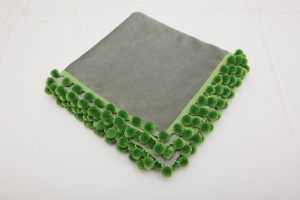 "Out of Stock - Bridge Cloth - Grey velvet with green pom poms (1.07m/42"" square £70)"