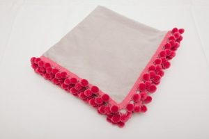 "Out of Stock - Bridge Cloth - Grey velvet with pink pom poms (1.07m/42"" square £65)"