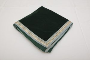 "Bridge Cloth - Bottle green velvet with wide braid (1.07m/42"" square £65)"