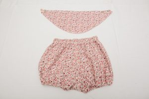Bloomers and Bib Set - Brushed cotton pink/grey sprig (3-12 months £26)