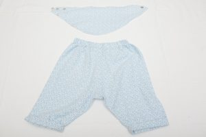 Trousers and Bib Set - Brushed cotton blue/white sprig (6-12 months £26)