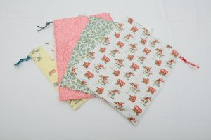 Sponge Bags - Cotton waterproof lined with drawstring various designs (£13)
