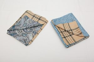 Scarves - Camel wool check tweed lined with Liberty tana lawn - Bourton blue (left) and Glenjade sky blue (right) (20x138cm £40)