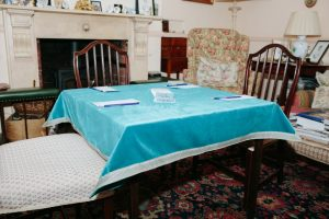 "Out of Stock - Bridge Cloth - Turquoise velvet with blue/cream braid (107cm/42"" square £75)"
