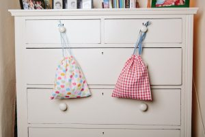 Sponge Bags - Cotton Waterproof lined with drawstring Elephants/Red Gingham (£13)