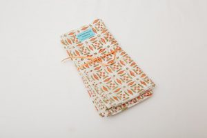 "Napkins - 100% cotton - Green/orange pattern (43cm/17"" square) - £22 for 4"