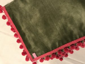 "Out of Stock - Bridge Cloth - 42""/1.07m square - sage green velvet with fuschia pink pom poms £75"