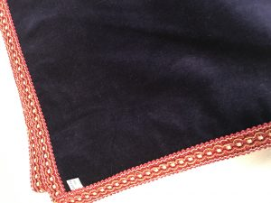 "Navy velvet with red and gold braid (42""/1.07m sq) £60"