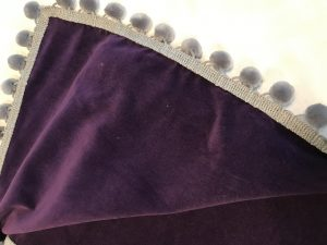 "Purple velvet with grey pom poms (42""/1.07m sq) £65"