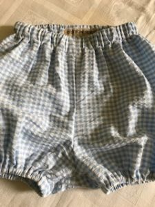 pale blue and white seersucker gingham bloomers 3-24m £20