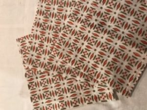 "Napkins - 100% cotton green/orange pattern (43cm/17"" square) - £22 for 4"