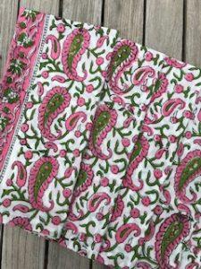 "Pink and Green Cotton Napkins - 53.5cm/21"" square - £25 for 4"