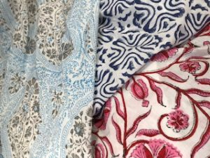 tablecloth samples 2 - pink/white, navy/white, grey/blue - 114-120cm wide from £25