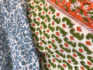 tablecloth samples 3 - orange/green seahorse, light blue/white - 114-120cm wide from £25