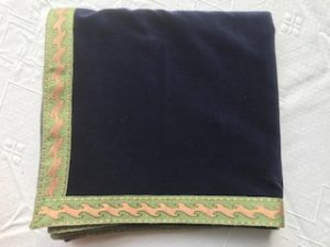 Bridge Cloth navy with pale green and beige trim
