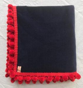 Bridge Cloth navy with red pom poms