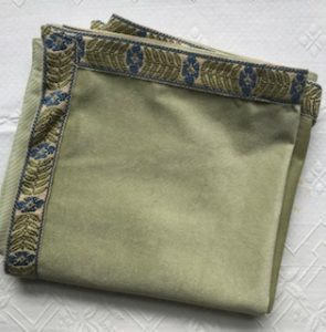 Bridge Cloth sage green with blue flower trim