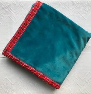 Bridge Cloth turquoise with red check trim